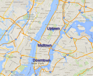"""Uptown,"" ""Midtown"" and ""Downtown"" are only applied to Manhattan"