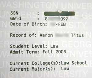 I removed my SSN from the transcript with a razor blade.